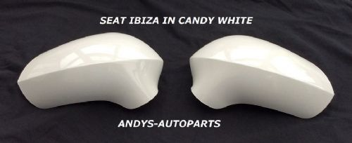 SEAT IBIZA 08 ONWARDS PAIR OF WING MIRROR COVERS IN CANDY WHITE L/H AND R/H